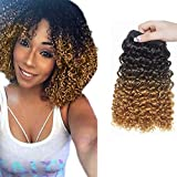 8' Brazilian Hair Extensions One Piece Water Wave Bundles Brasilianisches Weave Haar wie Echthaar Schwarz & Golden Blond