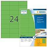 HERMA 4409 Farbige Etiketten DIN A4 (70 x 37 mm, 100 Blatt, Papier, matt) selbstklebend, bedruckbar, permanent haftende Farbetiketten, 2.400 Klebeetiketten, grün