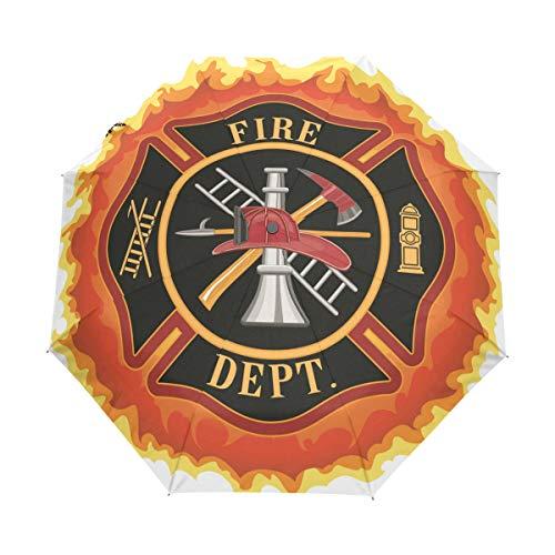 SUHETI Regenschirm Taschenschirm,Feuerwehr Symbol mit Leiter Öffentlicher Dienst Wesentliche Werkzeuge der Feuerwehrleute,Auf Zu Automatik,windsicher,stabil