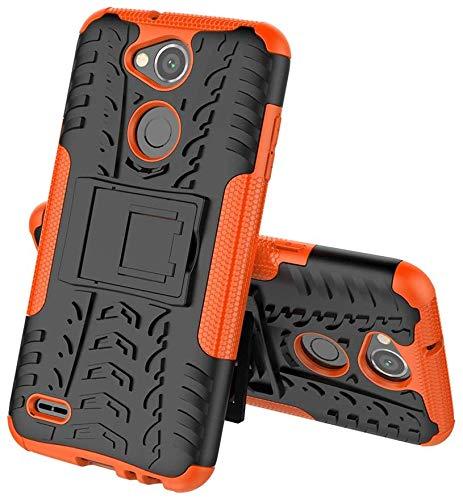 Sunrive Hülle Für LG X Power2, Tasche Schutzhülle Etui Hülle Cover Hybride Silikon Stoßfest Handyhülle Hüllen Zwei-Schichte Armor Design schlagfesten Ständer Slim Fall(Orange)