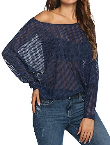 Zeagoo Women's Crochet Blouse Batwing Long Sleeve Shirt Lace Sheer Tops Dark Blue Large