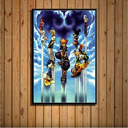 Newgeli Kingdom Hearts Anime Carteles E Impresiones Lienzo Pintura Cuadros De Pared Decoración del Hogar 50 * 70Cm Sin Marco