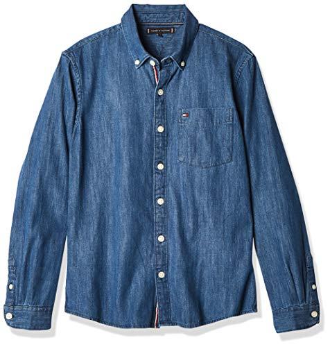 Tommy Hilfiger Jungen Shirt L/s Hemd, Denim Medium, 10