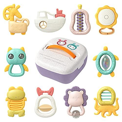 Sonajeros para bebés recién nacidos, batido sensorial para la dentición y agarre para la educación temprana, para animales de 3 6 9 12 meses, caja de almacenamiento de regalos para bebés, niños y niña