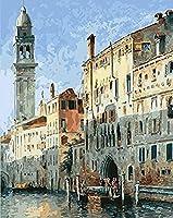大人のためのDIY5Dダイヤモンドペインティングフルキット、ヴェネツィア、家の壁の装飾ギフトのためのラウンドドリルフルダイヤモンドナンバークリスタル刺繡アート16x20インチ