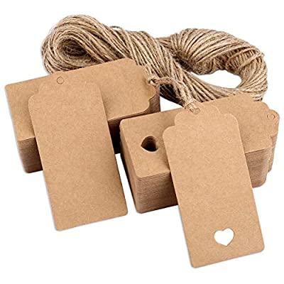 H&S Gift Tags 120pcs Brown Kraft Paper Tags with String for Christmas Wedding Birthday