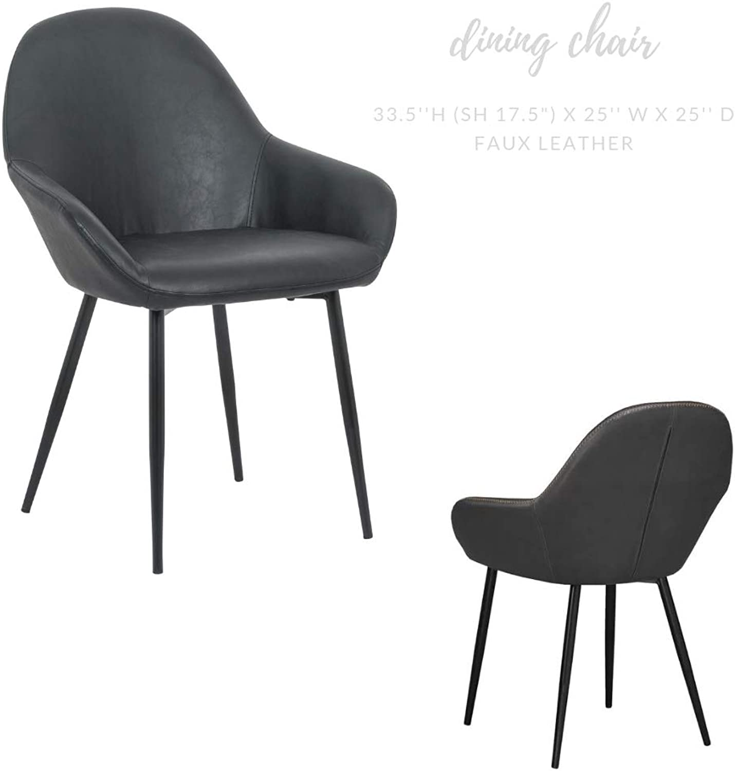 Take Me Home Furniture Burson Arm Chair in Black, Faux Leather with Black Metal Legs, Dining Chair, Chair