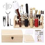 Ekalee Leder Handwerkzeug Kit mit Anleitung, Leder Arbeit Werkzeuge, Zinkenstanze, Stempelset,Handnähen, für die DIY Lederverarbeitung und Sattelherstellung