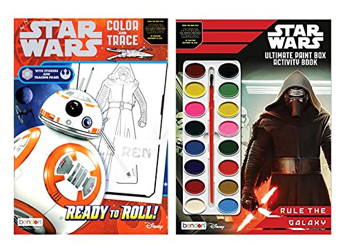 Set of 2 Star Wars Ultimate Paint Box & Color and Trace Activity Book 'Rule The Galaxy' 92 Total Pages W/34 Stickers and 16 Water Color Paints