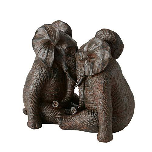 CasaJame Deko Figur Elefant Elefantenpaar sitzend aus Kunstharz Dunkelbraun H16cm