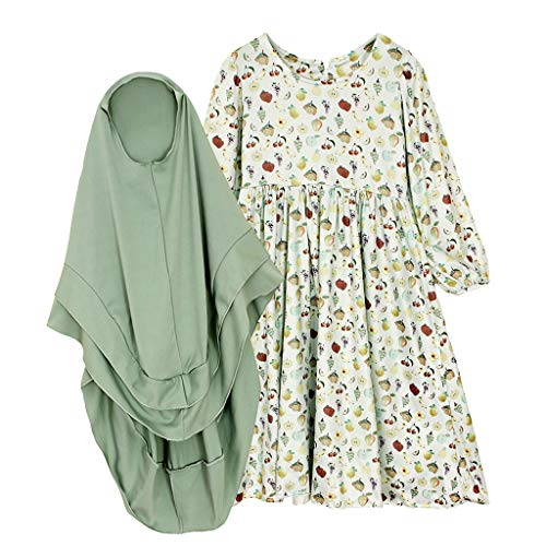 CUTUDE Vêtement Bébé Enfant Fille Imprimé Fruits Robe Ramadan Musulman Abaya Dubaï Robe Muslim Islamic Maxi Dress Traditionnel Robe + Pleine Longueur Hijab 2Pc Ensemble