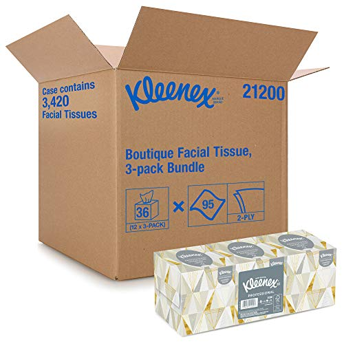 Kleenex Professional Facial Tissue for Business 21200 Upright Cube Box 95 Tissues/Box 12 Bundles/Case 3 Boxes/Bundle 36 Boxes/Case