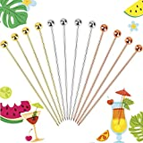 Cocktail Picks 12 PCS, 4.3 Inches Reusable Stainless Steel Cocktail Garnish Toothpicks Set Gifts, Fancy Drinks Bloody Mary Metal Skewers Martini Picks Reusable for Appetizers Olives Brandied cherries