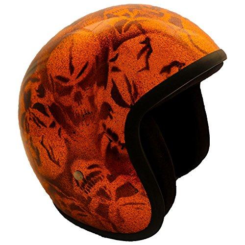 PI Wear Jet Super Flake Skulls Orange sehr kleiner und schmaler Jethelm * auffälliges Design * keine ECE (XL)