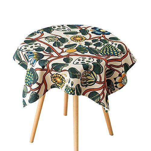 Uus Arbre et motif feuilles Nappe Pure Style Chiffon de coton naturel Coque Environnementale Nappe, Coton, 140*200cm