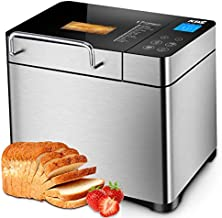 KBS 17-in-1 Premium Bread Machine, 2LB Stainless Steel Bread Dough Maker with Auto Fruit Nut Dispenser, Nonstick Ceramic Pan, Digital Display Touch Design, Reserve& Keep Warm, Oven Mitt and Recipes