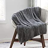 """LinenspaFlannelFleeceBlanket- Super Soft - Breathable - Machine Washable - Polyester - Multiple Colors Available, Gray, Queen (90""""x90""""Inches)"""