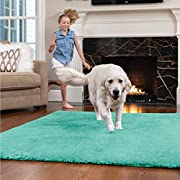 GORILLA GRIP Original Faux-Chinchilla Area Rug, 5x7 FT, Many Colors, Soft Cozy High Pile Washable Kids Carpet, Rugs for Floor, Luxury Shag Carpets for Home, Nursery, Bed and Living Room, Turquoise
