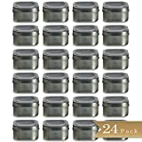 Set of 24 - TrueCraftware 4oz Square Deep Storage Container Tins with Clear Top Covers