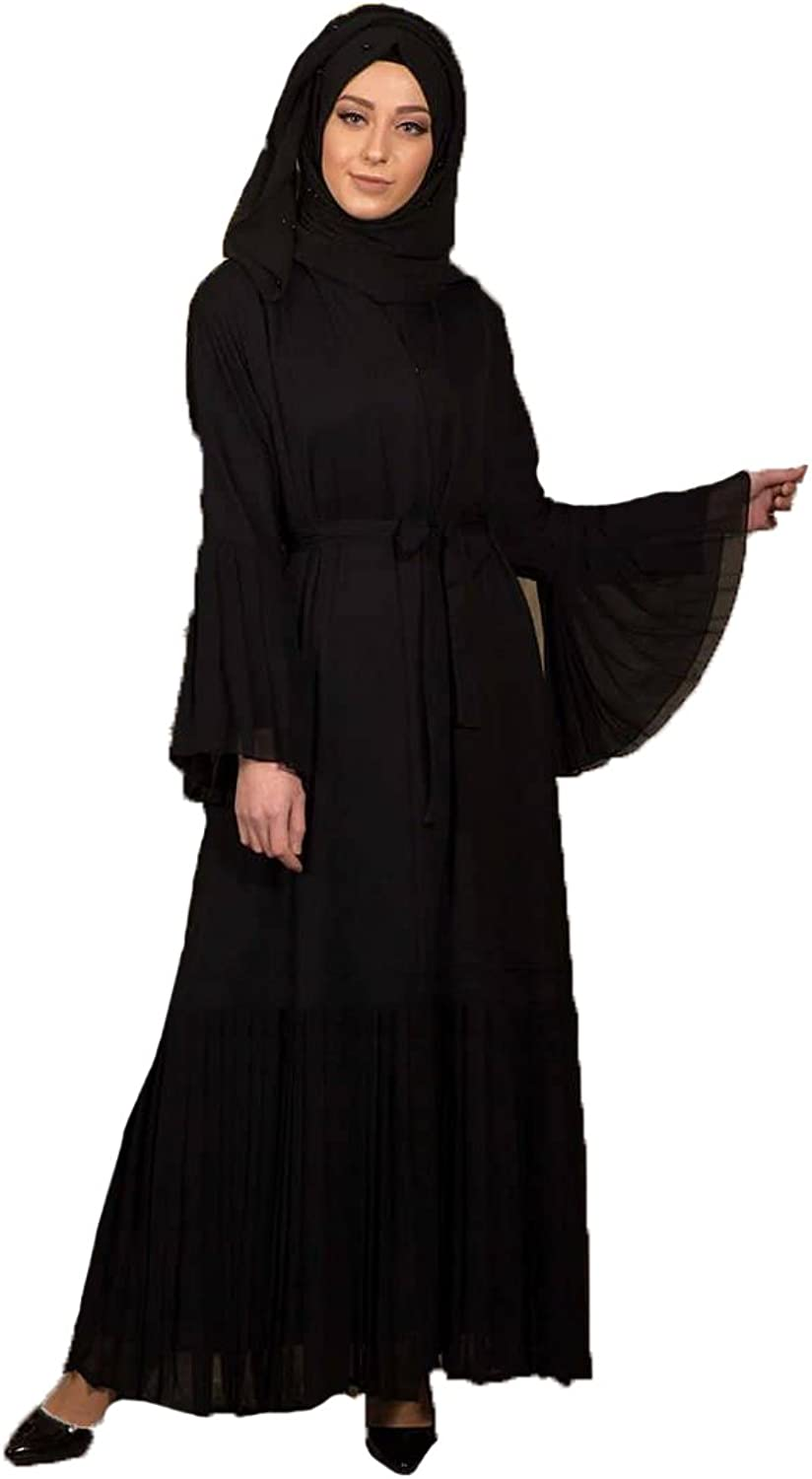 & x130;z Otantik Turkish Black Unlined V Neck Collar Modesty Abaya Long Dress Arabic Koftan for Muslim Women