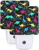 Paquete de 2 lámparas LED de luz nocturna con impresión colorida de dinosaurio con atardecer a amanecer Auto Motion Senor para leer cuarto de baño, dormitorio, guardería, EU Jack