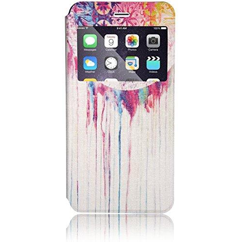 JewelryWe nieuwe modellen 2in1 Horror Halloween PU Leather mobiele telefoon zakje kaartenverpakking met venster beschermhoes hoes etui flip case cover voor Apple iPhone 6 Plus (5,5