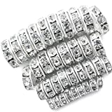 TOAOB 400pcs Charm Shiny Rhinestones Round Silver Tone Spacer Beads 4mm 6mm 8mm 10mm for Jewelry Making