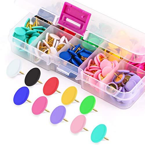 Yalis Colors Thumb Tacks 300-count, Colors Plastic Roundness Push Pins Decorative Tacks for Corkboard, 10 Assorted Colors