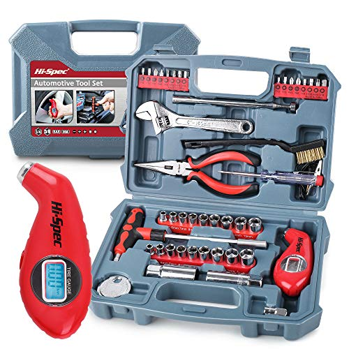 Hi-Spec Tools 65 Piece Auto Mechanics Tool Kit Set with Metric & SAE Sockets. Car, Bike & Vehicle DIY Hand Tools for Repair & Maintenance. Complete in a Carry Case