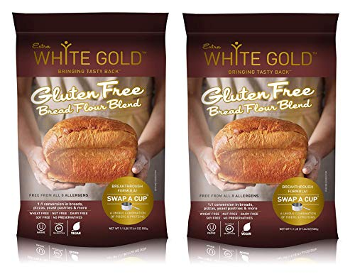 Extra White Gold Gluten Free Bread Flour Blend – For Breads, Yeasted Pastries , Pizza, Focaccia – [Kosher] [Gluten Free] [Vegan] [Soy Free] [Nut Free] [Dairy Free] – 1.1 Pound (2 pack)