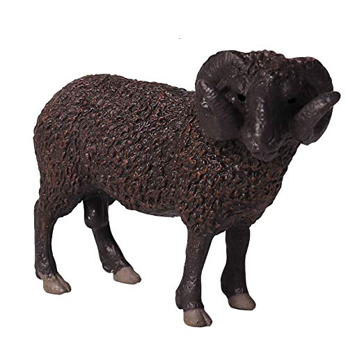 FLORMOON Oveja Negra Curvada Figura RealistaFiguritas De Animales Early Educational Juguete de Oveja Educación temprana Proyecto de Ciencias Cumpleaños de navidadpara niños (Balck)