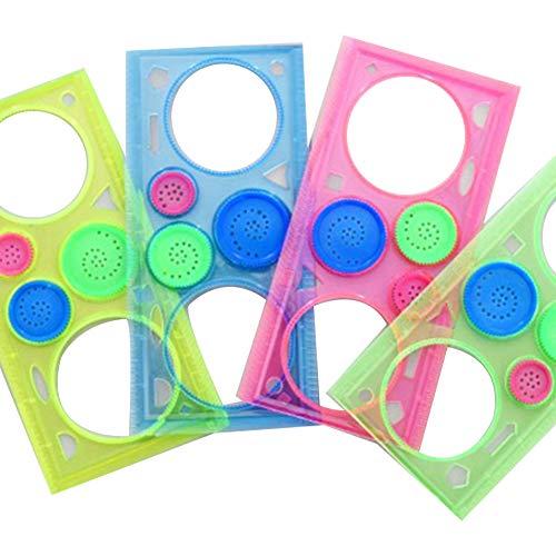 multifonction Transparent millions de fleurs Règle en plastique Gabarit de dessin Outil de mesure Règle géométrique coloré pour Kidsï ¼ ˆrandom Colourï ¼ ‰