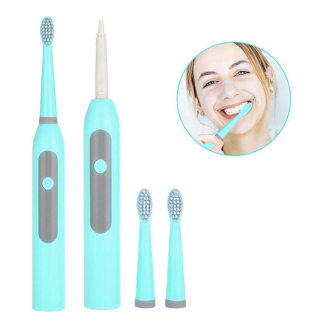 蓄積する責める決定的Semme電動歯ブラシ、バッテリー電源音波歯ブラシ2本の予備の頭部が付いている防水歯のクリーニング用具3任意モード(Blue)