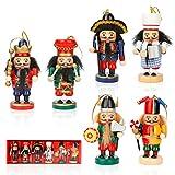 Auniq Decoraciones de Navidad Estatuilla de Figura de Soldado Cascanueces 6 Piezas Muñeco Tradicional Cascanueces de Madera Colgante de árbol de Navidad para Regalos de Suministros de Fiesta en casa