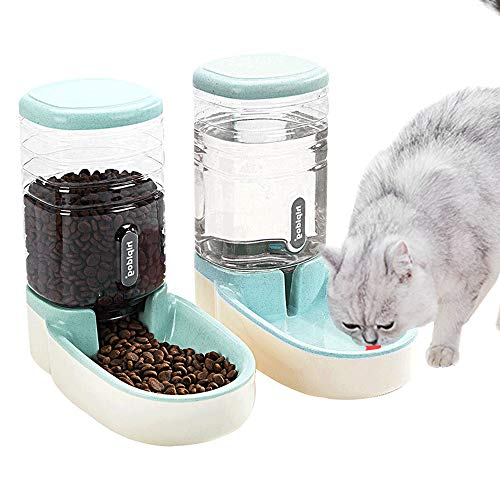 UniqueFit Pets Cats Dogs Automatic Waterer and Food Feeder 3.8 L with 1* Water Dispenser and 1 * Pet Automatic Feeder (Grün)