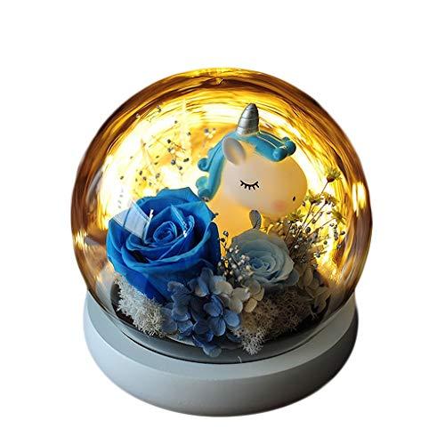 ZHUZEwei La Bella y la Bestia Inmortal Flor Unicorn Rose Bola de Cristal Elk Conveniente for los Regalos (Color : Blue Unicorn)