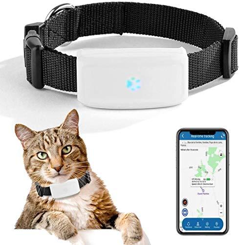 LDDPP Mini localizador GPS en tiempo real para mascotas pequeñas GPS Rastreador para perros y gatos, localizador de dispositivo de rastreo con collar de mascotas,dispositivo de alarma impermea