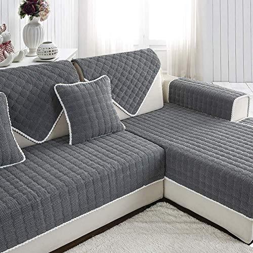 J-Kissen Eindickung Kurze Plüsch-Sofa Slipcover Cover, for Pet 1 Stück Sofa Mats Couch Abdeckung Anti-Rutsch-Möbel-Schutz, for 3 4 Cushion Sofa (Color : Gray, Size : 70x90cm(28x35inch))