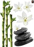 Plage Decoración Mural Adhesiva con Diseño Zen Bambús Orquídeas, Vinilo, Multicolor, 48x68 cm