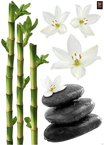 Décorations murales adhésives 48*68 Orchidée Bambous et Pierres, Polyvinyle, Gris, 48 x 0.1 x 68 cm, 152782