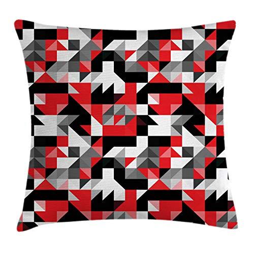 ABAKUHAUS Rouge Et Noir Hausse de Coussin, Abstrait Géométrique Demi-Triangles Carrés Labyrinthe Inspiré Image, Lavable pour Utilisation ina et en extérieur, 45 x 45 cm, Gris Charbon