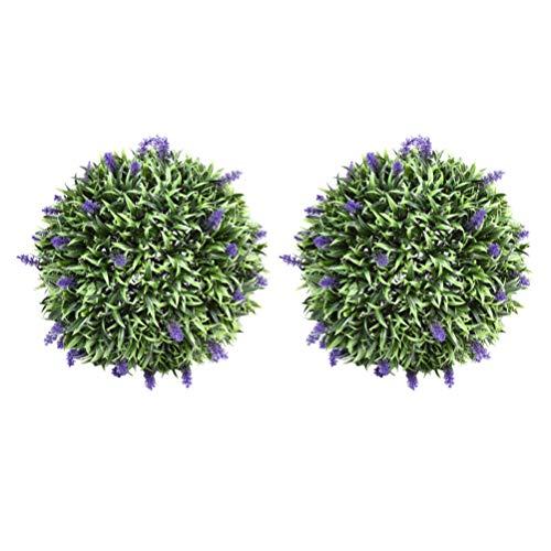 YARNOW Künstliche Lavendelkugel Buchsbaum Topiary Ball Hängen Dekor Garten Topiary Dekorationen Indoor Outdoor Künstliche Pflanze Ball Hochzeit Weihnachten Urlaub Lieferungen 2Pcs