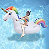 Cama Flotante de Unicornio - Hilera Flotante de Juguete Inflable de Montaje en Agua Grande con Válvula Rápida, Juguete Inflable para Fiesta en la Piscina, Adecuado para Adultos y Niños (All)
