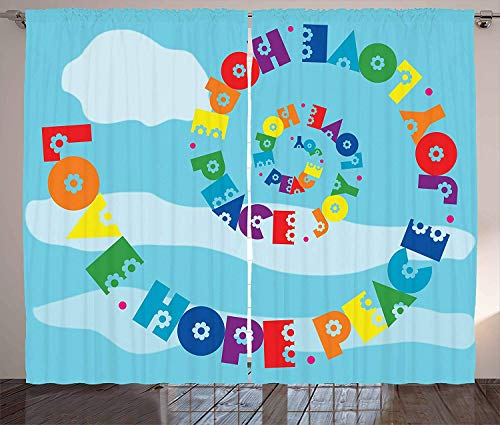 FAFANIQ Hope Curtains, Rainbow Colored Love Hope Peace Joy Message with Sixties Inspired Floral Illustration, Living Room Bedroom Window Drapes 2 Panel Set, Multicolor,110 * 74 Inch