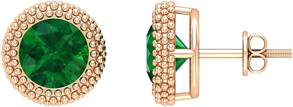 3.50 CT Created Emerald Antique Anniversary Stud Earrings (AAAA Quality),14K Yellow Gold,Lab Created Emerald