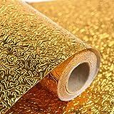 Emoyi Kitchen Golden Oil Proof Waterproof Paper Aluminum Foil Backsplash Sticker Stove Cabinet Liner Decor Self Adhesive Wallpapers 24''x79''