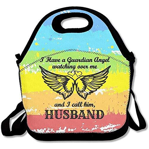 Husband My Guardian Angel Symbol - Bolsas de almuerzo de neopreno grandes y gruesas con aislamiento térmico y bolsa térmica con correa para el hombro para mujeres, adolescentes, niñas, adultos