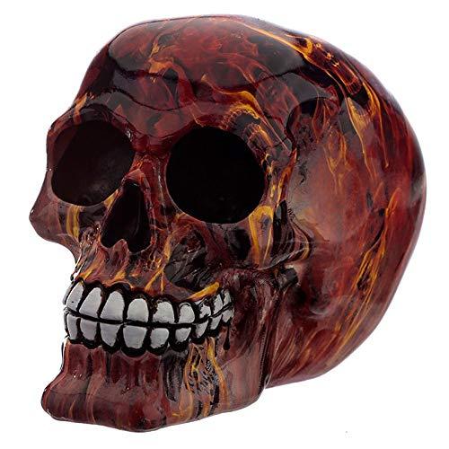 NAMENLOS Gothic-Totenkopf in Flammen | Fantasy Skull, Totenschädel, Kopf-Skulptur, Statue, Figur, H 12 cm