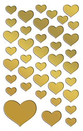 AVERY Zweckform 53282 Folien-Sticker gold Herzen 78 Aufkleber (Deko, Goldfolie, selbstklebend, Scrapbooking, Bullet Journal, Geburtstag, Hochzeit, Valentinstag, Karten, Fotoalbum, Gästebuch, Liebe)