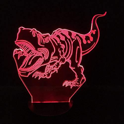Dinosaurio Novedad Acrílico Luz de noche 3D LED Lámpara de mesa niños regalo de cumpleaños decoración de la habitación junto a la cama